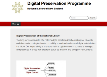 Screenshot of the National Library of New Zealand website